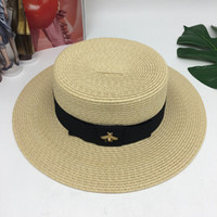 Wholesale small straw sun hats online - Women Men Vintage Small Bee Knit Straw Cap Outdoor Tour Cycling Sun Hat Fit Spring Summer15zh ff