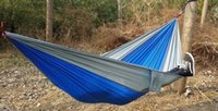 тканевые гамаки оптовых-Портативный нейлон одного человека гамак 230*90 см парашют парашют ткань гамак для путешествий туризм рюкзак кемпинг гамак 100 шт.