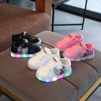 хорошие резиновые туфли оптовых-Новый HookLoop симпатичные nice baby Girls кроссовки все сезоны красивая принцесса детские малыши резиновые LED освещенные повседневная обувь