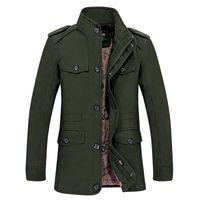 abrigo verde para hombre al por mayor-Verde trench coat hombres trenchcoat algodón otoño para hombre chaqueta larga abrigo collar de pie hombre manto solo breasted buena calidad