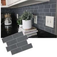 decoração de azulejos de parede de cozinha venda por atacado-Tijolo cinza Metrô Telha Casca e vara Auto Adesivo de Parede decalque Adesivo DIY Cozinha Banheiro Home Decor Vinil 3D