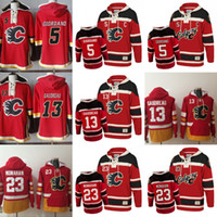 Wholesale 23 sweatshirt - Mens 5 Mark Giordano 7 T.J. Brodie 13 Johnny Gaudreau 23 Sean Monahan Calgary Flames Hoodies Sweatshirts Stitched Old Time Hockey Hoodies