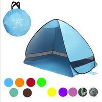 Wholesale big tents camping - Portable Pop Up Beach Tent Folding Automatic Open Tent Family Tourist Fish Camping Sun Shade tent LJJK1008