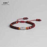 ingrosso legno buddista-AMIU Handmade Tibetan Wheel Bead Bracciale Tibetano Mantra buddista segno Charm naturale Sanders legno Mala borda il braccialetto