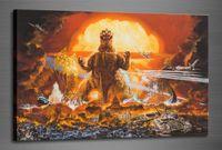 Wholesale original digital art online - HD Art Print Godzilla Original Oil Painting on Canvas high quality Home Wall Decor Multi Sizes Options City scenery pa01