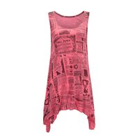 Wholesale wholesale tunic tees online - New Fashion Leer Newspaper Print Shirts Women Tee Tops Casual Summer Sleeveless Tank Top Floral Vest Long Tunics