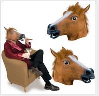 Wholesale headgear costume resale online - Halloween Mask Prom Cosplay Latex Horse Mask Animal Costume Toys Party Halloween Animal Headgear Horse Mask