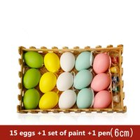 Wholesale Wholesale Graffiti Toys - Easter small items Easter DIY colored eggs hand painted egg shell decoration children's graffiti plastic egg creative painting toys