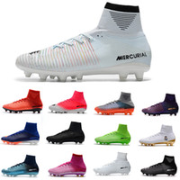 Wholesale yellow superfly cleats resale online - Men Women kid Soccer Shoes Mercurial CR7 Superfly V FG Boys Football shoes Magista Obra Women Youth Soccer Cleats Cristiano Ronaldo