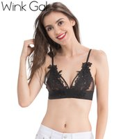 Wholesale Cute Lace Comfortable Underwear - Wink Gal 2017 New Lace Bralette Sexy Plunge bra Embroidery Floral Female Brassiere Cute Comfortable Underwear Lingerie W12158