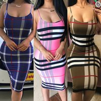 Wholesale dresses for night - 2018 Sexy Striped Dress For Woman Fashion Spaghetti Straps Low-Cut Bodycon Nightclub Party Dresses Free Shipping Wholesale 340