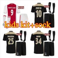 Wholesale quality boys - Top quality 2018 2019 Ajax FC Home Away Soccer Jerseys uniforms 18 19 DOLBERG ZIYECH HUNTELAAR YOUNES Kids Ajax Football Shirt kit+sock