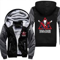 erkekler için anime ceketi kostümleri toptan satış-Thunderdome sihirbazı Logosu Hardcore Techno ve Gabber Erkekler Kalınlaşmak Hoodie Anime Fermuar Ceket Ceket Cosplay Kostüm Artı Boyutu 5XL