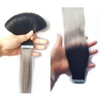 precios de extensiones de cabello negro al por mayor-Balayage Tape Extensiones de cabello Negro Gris Ombre Invisible Tape in Hair Extensions Precio al por mayor Double Drawn Remy Tape Hair Extension