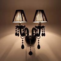 kumaş lambalar toptan satış-Siyah Kristal Duvar Lambası Mum Led E14 Ampuller Siyah ile / Kumaş Abajur olmadan 1/2 kafa
