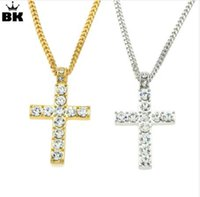 распятие горного хрусталя оптовых-Drop Shipping Hip Hop Alloy Cross Pendant Necklace Iced Out Rhinestone Gold Silver Tone Crucifix Charm Jewelry