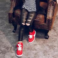 Wholesale Kids Spandex Pants - New Girls Leggings Children Clothing Baby Kids Faux Leather Pants Hole Leggings Solid Skinny Toddler Leggings