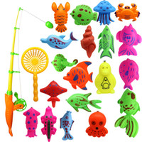 ingrosso barre di galleggiamento-Giocattolo da bagno, 22pcs Magnetico galleggiante giocattolo da pesca Set comprende una canna da pesca e una rete da pesca per ragazzi ragazze bambini piccoli