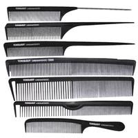 ingrosso salone di marca-7 Pz / set pettine per parrucchieri di marca in colore nero, pettine per capelli taglio al carbonio antistatico e resistente al calore, coda TG-96 per salone