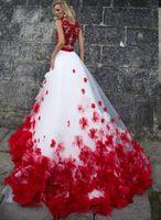 ingrosso top di organza bianca-Due pezzi di abiti da sposa di lusso 3D fiori abito da sposa rosso e bianco abito da sposa scoop pizzo top