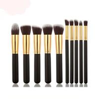 Wholesale Professional Styling Brushes - 10 colors Kabuki Style Professional Makeup Brushes Tools 10pcs Make Up Full Cosmetic Brush Eyeshadow Lip Face Powder BrushSets