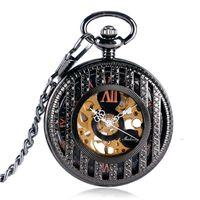 полосатые женские часы оптовых-Black Half Hunter Hand Winding Mechanical Pocket Watches Women Men Stripe Hollow Watchcase Roman Numerals Fob Watch Chain MP045