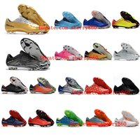 Wholesale soccer cleats blue green for sale - 2018 cr7 soccer cleats Mercurial Vapor XI FG cheap leather football boots low mercurial soccer shoes neymar high quality mens shoes Cheap