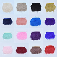Wholesale ostrich feathers wedding dresses resale online - 5 Meter Ostrich Feather Trims cm High Quality Natural Ostrich Feather Ribbon Cloth Fringe For Skirt Dress Wedding Decoration