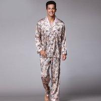 camisones masculinos al por mayor-SSH003 imprimió la seda del satén mens pijamas camisón masculino de alta calidad ropa de dormir otoño primavera pantalones de mangas 2pieces pijama conjunto