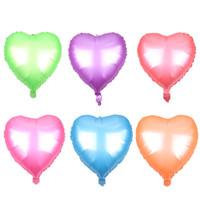 doğum günü kalp balonları toptan satış-50 ADET / GRUP Yeni mat tek renkli kalp şeklinde alüminyum balon bebek doğum günü partisi dekorasyon balon yüksek kalite