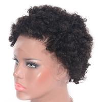 brezilya kinky afro kıvırcık siyah saç toptan satış-Afro Kinky Kıvırcık Tam Dantel Peruk Siyah Kadınlar için Kısa Brezilyalı İnsan Saç Peruk 6 inç Doğal Siyah Renk Ping