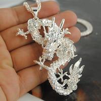 pullover chinesisch groihandel-Beliebte große Förderung Mode Frauen Silber Gold chinesischen Stil Drachen Anhänger lange Pullover Halskette