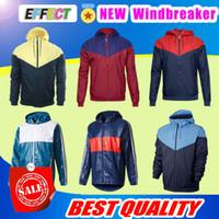 Wholesale Men Jacket Waterproof Windbreaker - 2018 soccer Windbreaker jacket with hat hoodies tracksuit Thin coat football Training suit size S-2XL