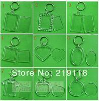 Wholesale Blank Acrylic Keychains - 50 pcs lot Blank Acrylic Keychains Insert Photo plastic Keyrings Square Key Rectangle heart circular