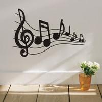 autocollants de notes de musique achat en gros de-Beat Note musique stickers muraux, vinyle stickers muraux musique décor, Graphic Art musical décoration de la maison-noir amovible étanche