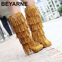 Wholesale High Heels Size 32 - Wholesale- Plus size 32-43 New Flock Winter Fur Women boots High heels Knee boots Fringe Tassels Fashion Black Brown Red Yellow Beige Punk