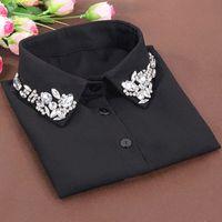 Wholesale White Blouse Peter Pan Collar - Korean fashion White Half Shirt Detachable High-grade crystal female blouse Fake collar Blouses Peter pan Detachable Collar