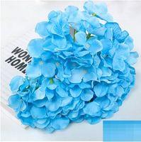 weiße topfpflanze künstlich großhandel-Künstliche Hortensie Blüte 47 cm Gefälschte Seide Einzel Real Touch Hortensien 8 Farben für Hochzeit Mittelstücke Home Party Dekoration wn506