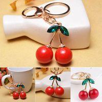 Wholesale cherry rings - Crystal red Cherry metal Keychains Rhinestone Purse Handbag Ornaments Key Chain Ring Pendants Car Key Chain FFA078