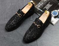 Wholesale gold glitter low heels for sale - Group buy Luxury Newest Fashion Men glitter sequins metal buckle pointed shoes Man s gold Formal Shoes For Homecoming Wedding Business Christmas gift