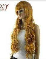 perucas douradas escuras venda por atacado-Frete grátis +++ Dark Golden Loira Ondulado Synthetic Bangs Cabelo Peruca Cheia Cosplay Longo Perucas