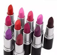 Wholesale good waterproof lipstick online - Good quality Luster Lipstick RUBY WOO VELVET TEDDY HONEYLOVE KINDA Frost Retro Matte Lipstick g with english name colors lipsticks