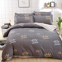 Wholesale King Grey Bedding Sets - 2018 New Crown Printed Grey Color Twin Full Queen King Size Bedding Set  Duvet Cover Set