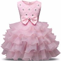 tierdruck kleider zum verkauf großhandel-Blumenmädchen Kleid Sommer 0-8 Jahre Floral Baby Mädchen Kleider Vestidos 9 Farben Hochzeit Kinder Kleidung Geburtstag Kleidung