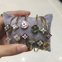 Wholesale pink mother pearl shell - 2018 famous brand 316L stainless steel brand charm bracelet with Grey pink white stereoscopic shell in 5.8*4.8cm for women Brand jewelry fr