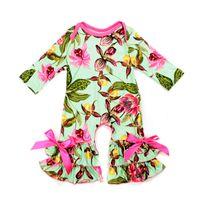 ingrosso jumper floreali-New Autumn Baby Rompers 0-3T Ragazze stampa floreale Tuta a maniche lunghe Baby Onesies caldi 29+ Disegni di seta di latte Baby Spring Fall Outfits