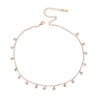 Wholesale rose gold bridal necklace for sale - Group buy silver rose gold plated cz drop charm statement necklace cz charm wedding bridal gift elegance diamond choker chocker fashion jewelry