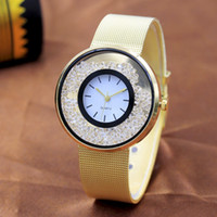 Wholesale sanding brass resale online - Hot sale casual ladies watch fashion wave wave ring sand drift mesh ribbon watch