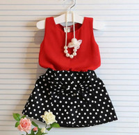 rote polka dot röcke großhandel-Baby Mädchen Kleidung Sets Sommer Rot Chiffon Weste + bogen polka dot Rock Outfit Kinder Kleidung Kinder Kleidung Anzug
