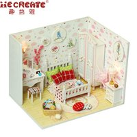 Wholesale 12 months live - Queen's Dream Kids Doll Houses Wooden Furniture Miniature DIY Doll House Girls Living Room Decor Craft Toys Puzzle Birthday Gift